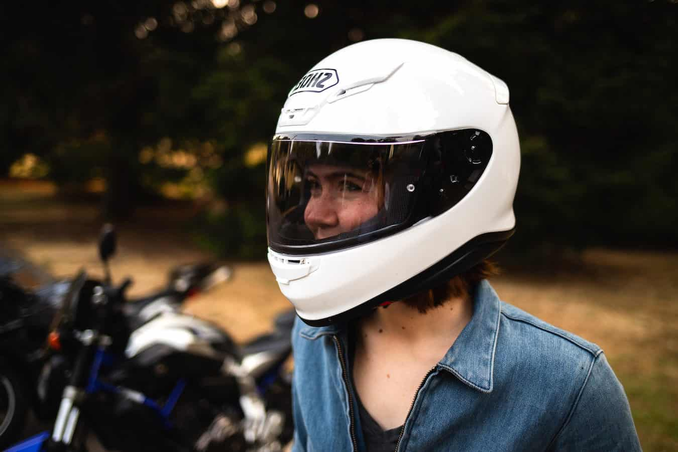 Doris trying out a new visor for her motorcycle helmet.