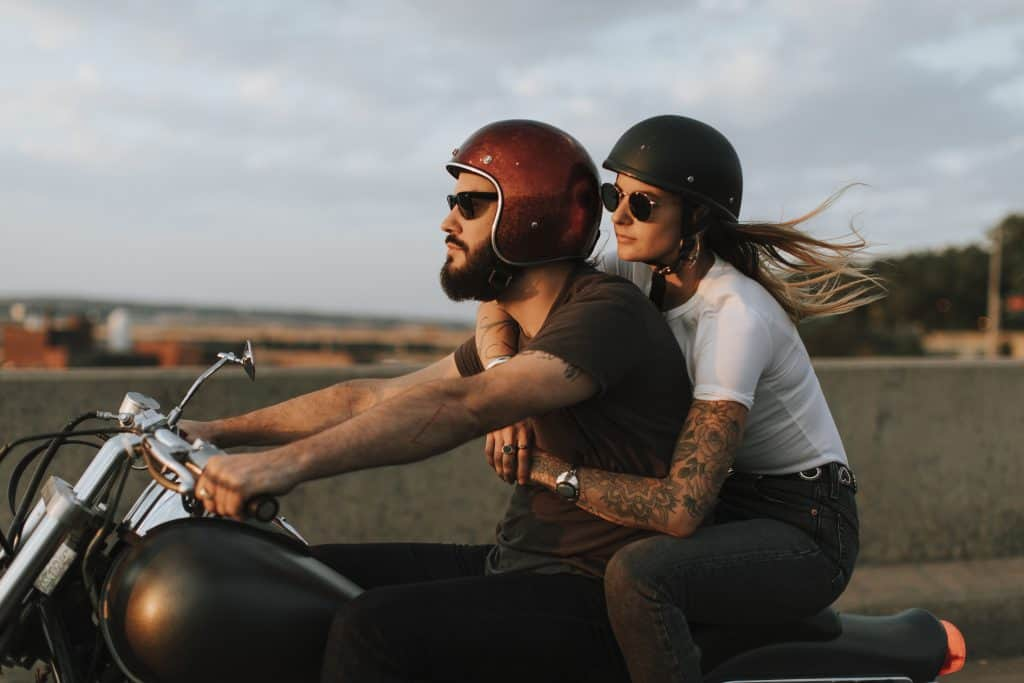 Biker couple riding