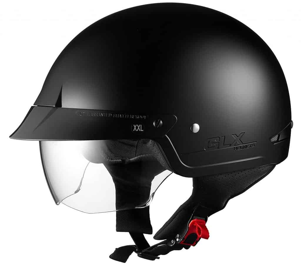 The GLX Motorcycle Street Cruiser Helmet comes with two built-in visors